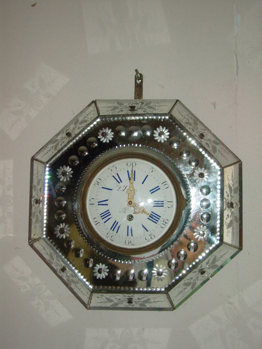 Napoleon III Period Clock Adorned With Murano Glass Plates Cartel Clock