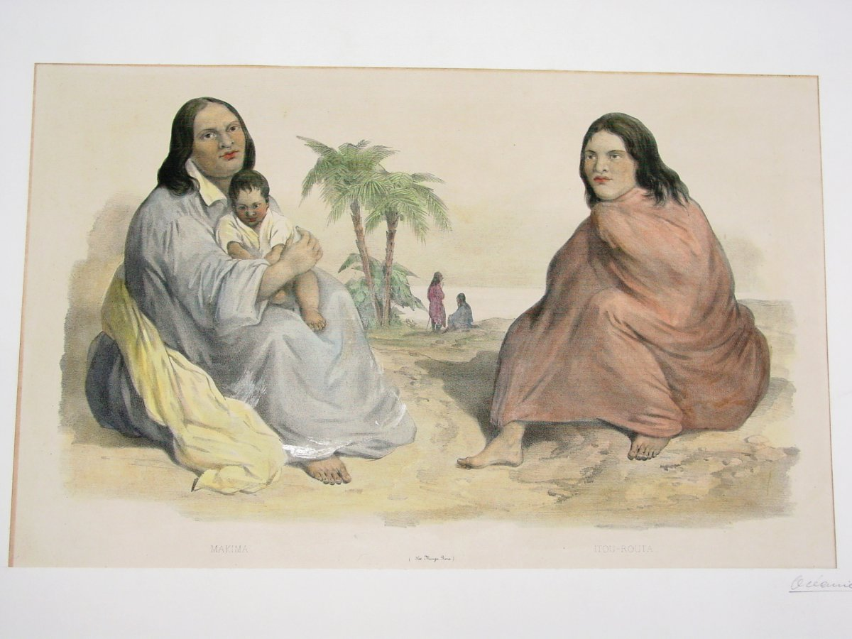 """""""makima & Itou-routa"""" Dumont d'Urville Expedition Color Lithograph Marescot And Bayot-photo-2"""