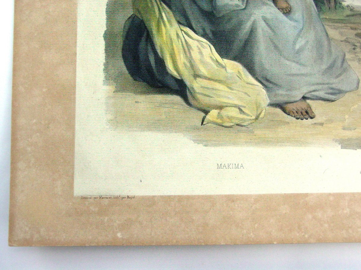 """""""makima & Itou-routa"""" Dumont d'Urville Expedition Color Lithograph Marescot And Bayot-photo-3"""