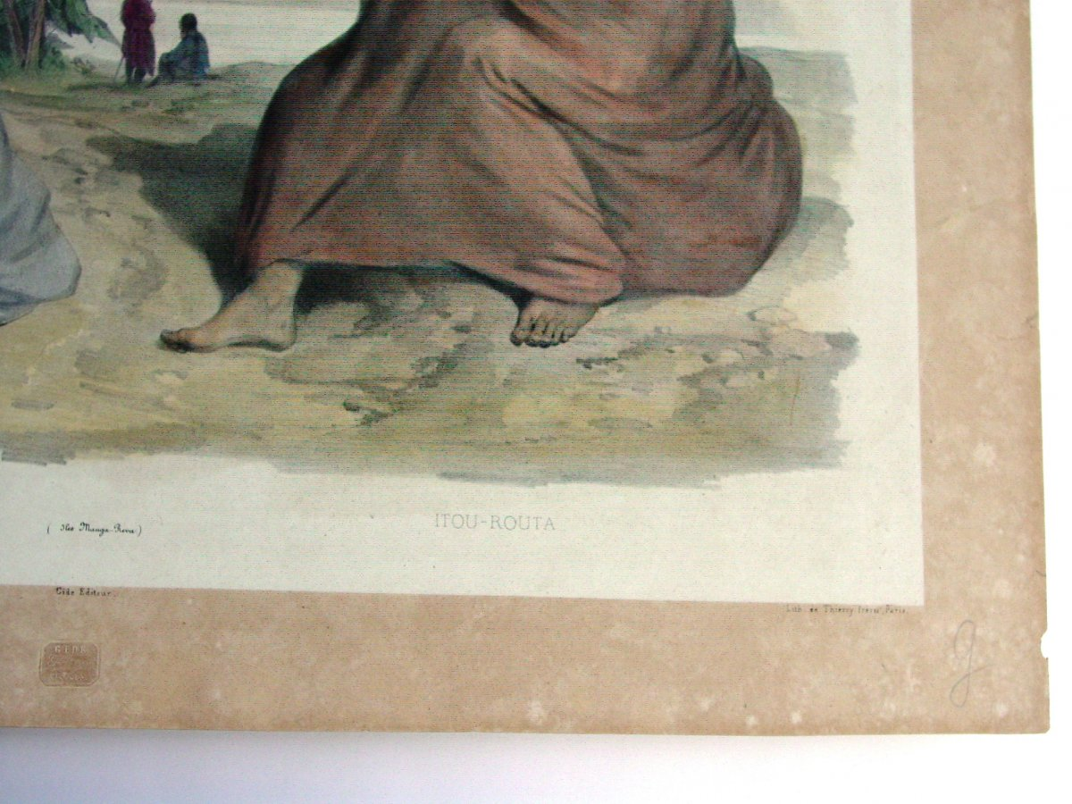 """""""makima & Itou-routa"""" Dumont d'Urville Expedition Color Lithograph Marescot And Bayot-photo-4"""