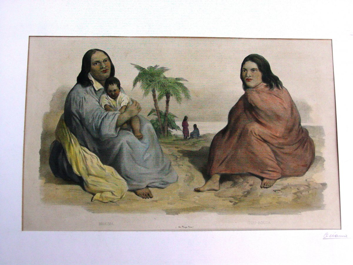 """""""makima & Itou-routa"""" Dumont d'Urville Expedition Color Lithograph Marescot And Bayot"""