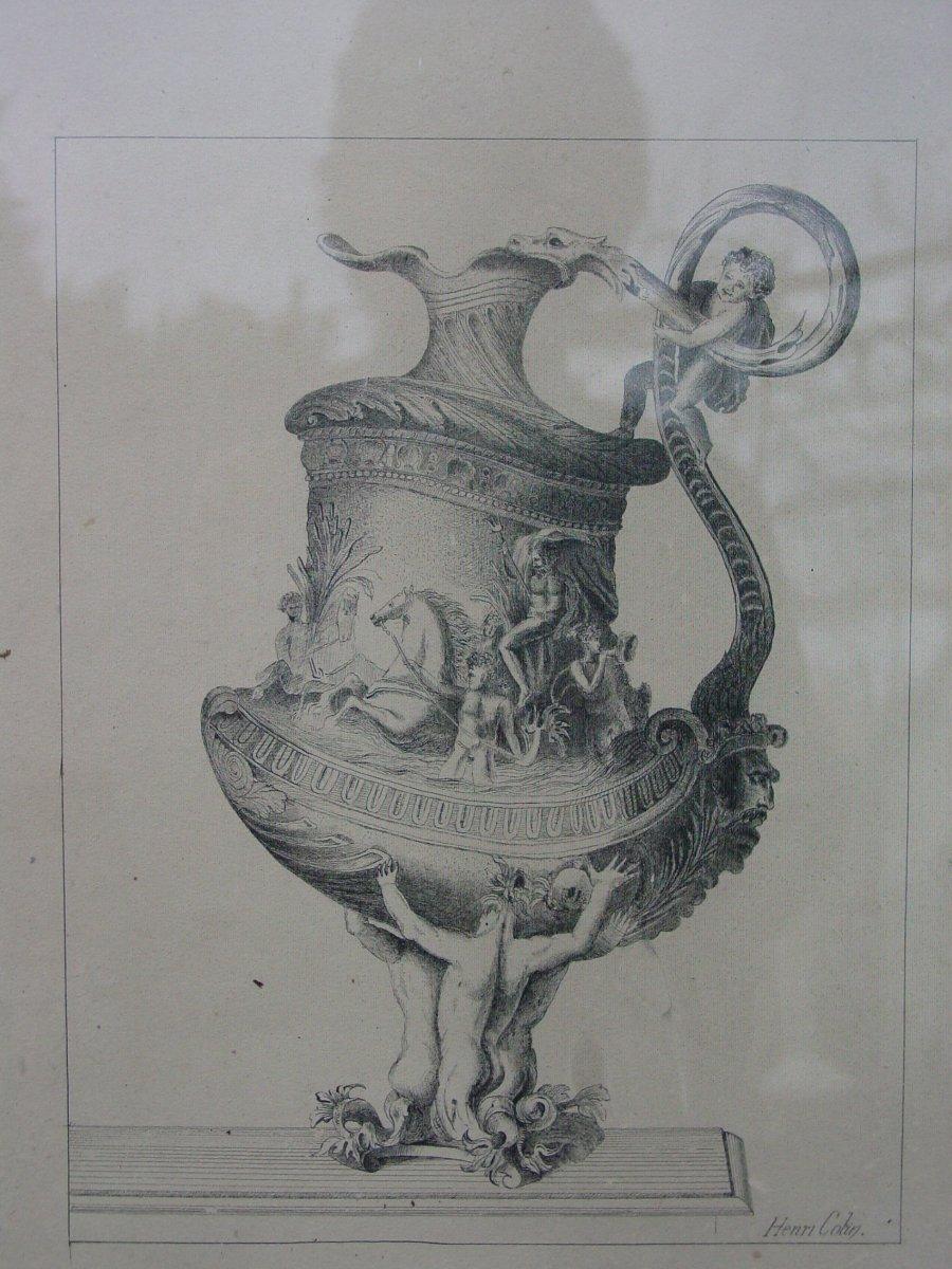 Dessin d' Orfèvrerie  Vers 1850 Signé: Henri Colin