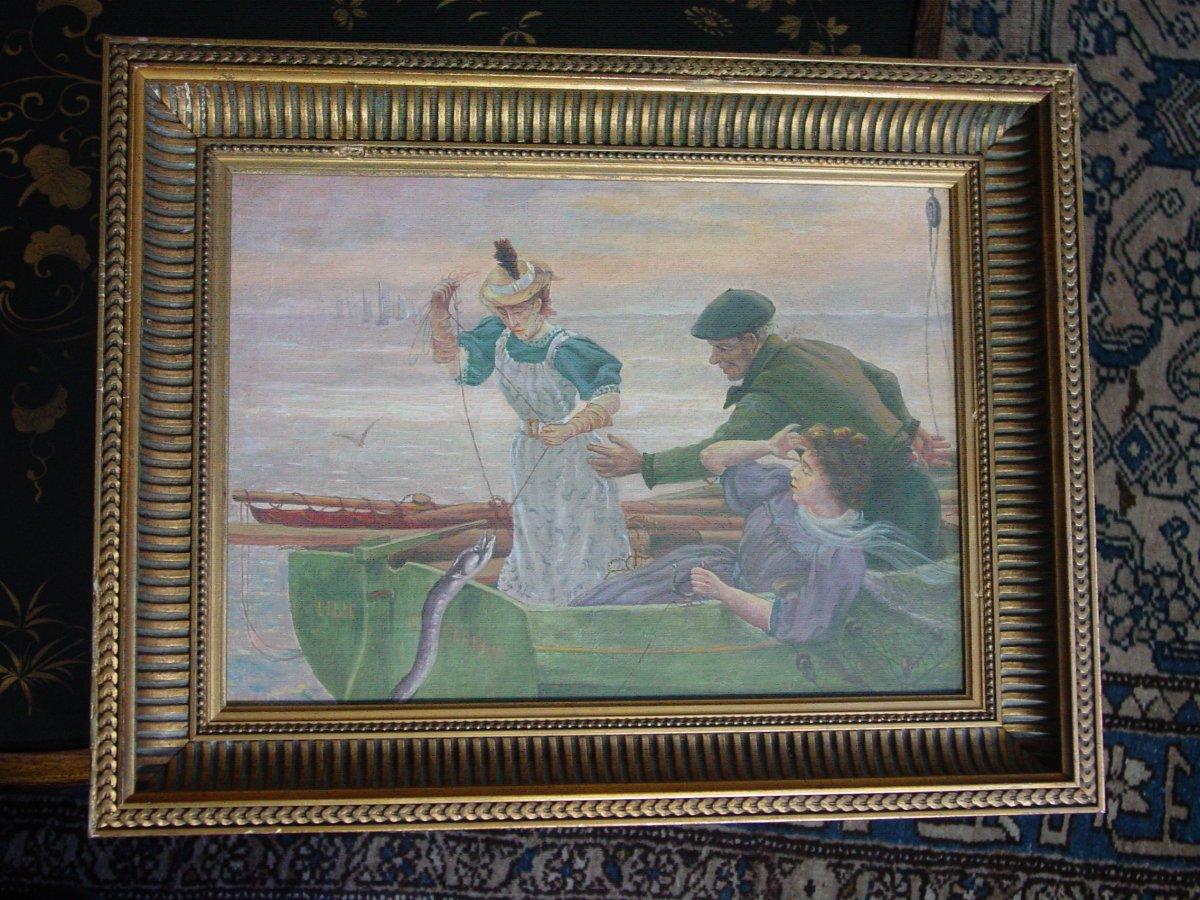 "Attr. Alfred Guillou (1844-1926)  "" La pêche Miraculeuse ""Concarneau"