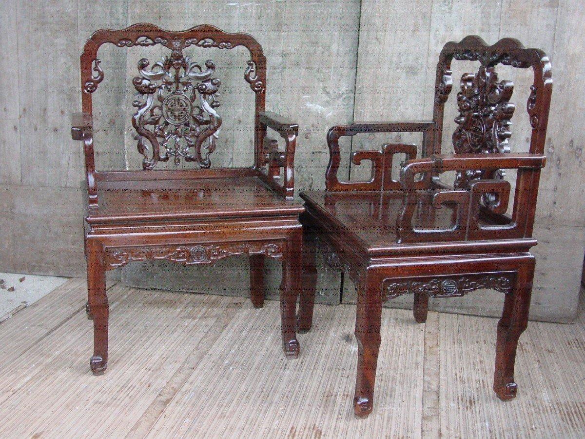 Paire Fauteuils Chinois, Chine De La Fin Du 19ème Siècle.-photo-2