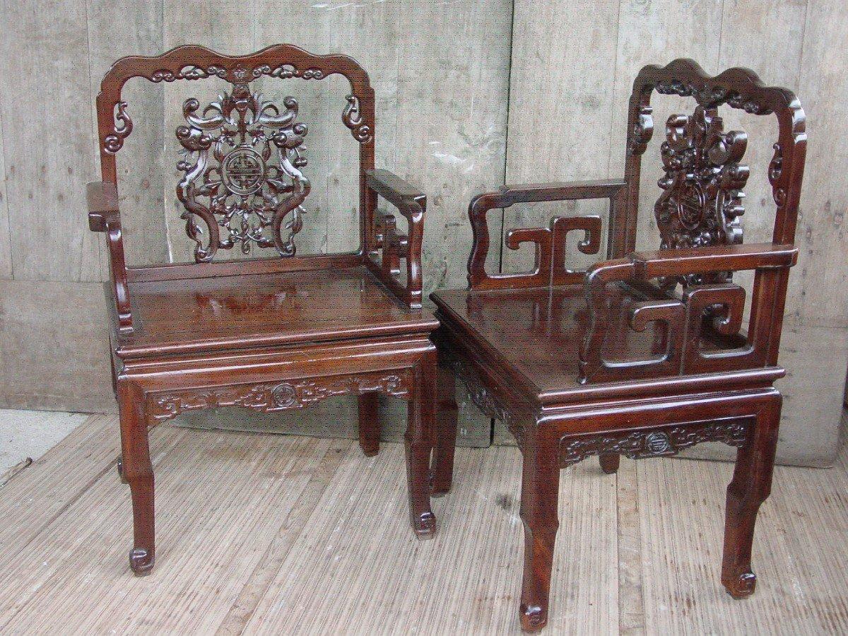 Paire Fauteuils Chinois, Chine De La Fin Du 19ème Siècle.-photo-3