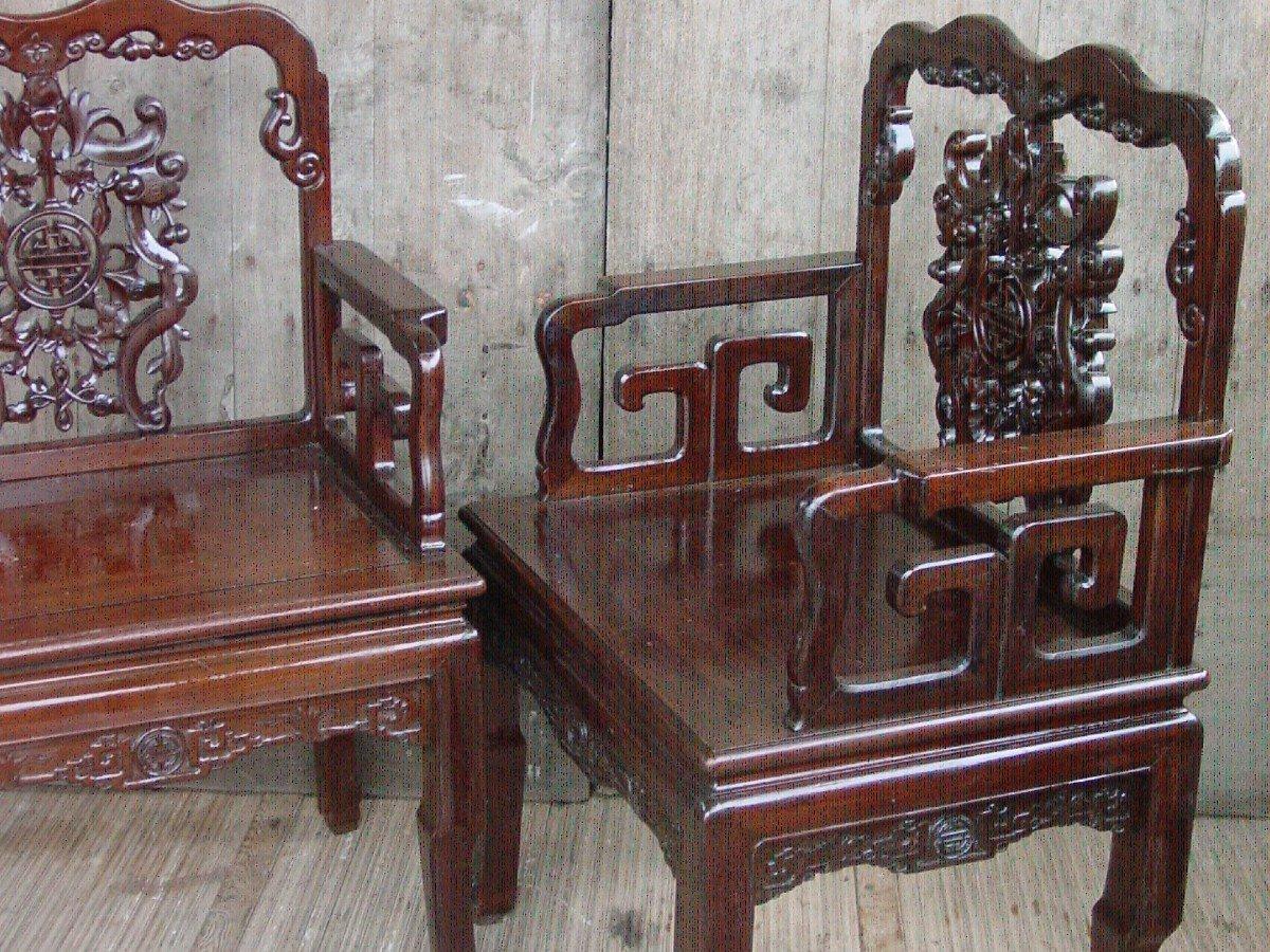 Paire Fauteuils Chinois, Chine De La Fin Du 19ème Siècle.-photo-4
