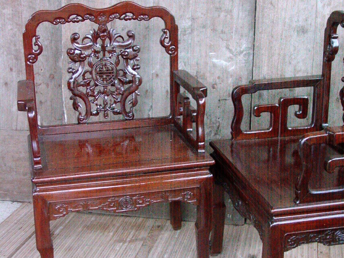 Paire Fauteuils Chinois, Chine De La Fin Du 19ème Siècle.-photo-8