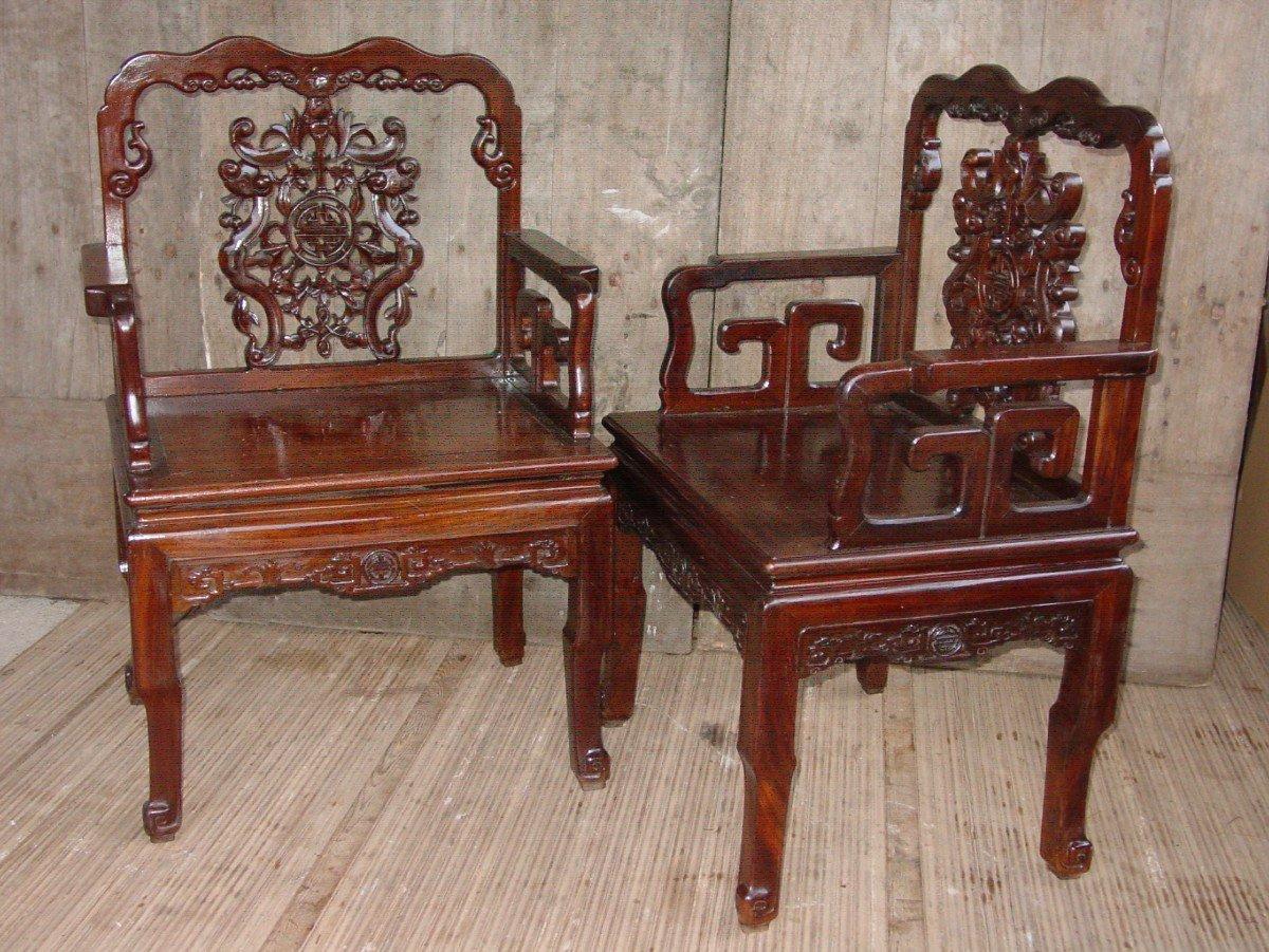 Paire Fauteuils Chinois, Chine De La Fin Du 19ème Siècle.