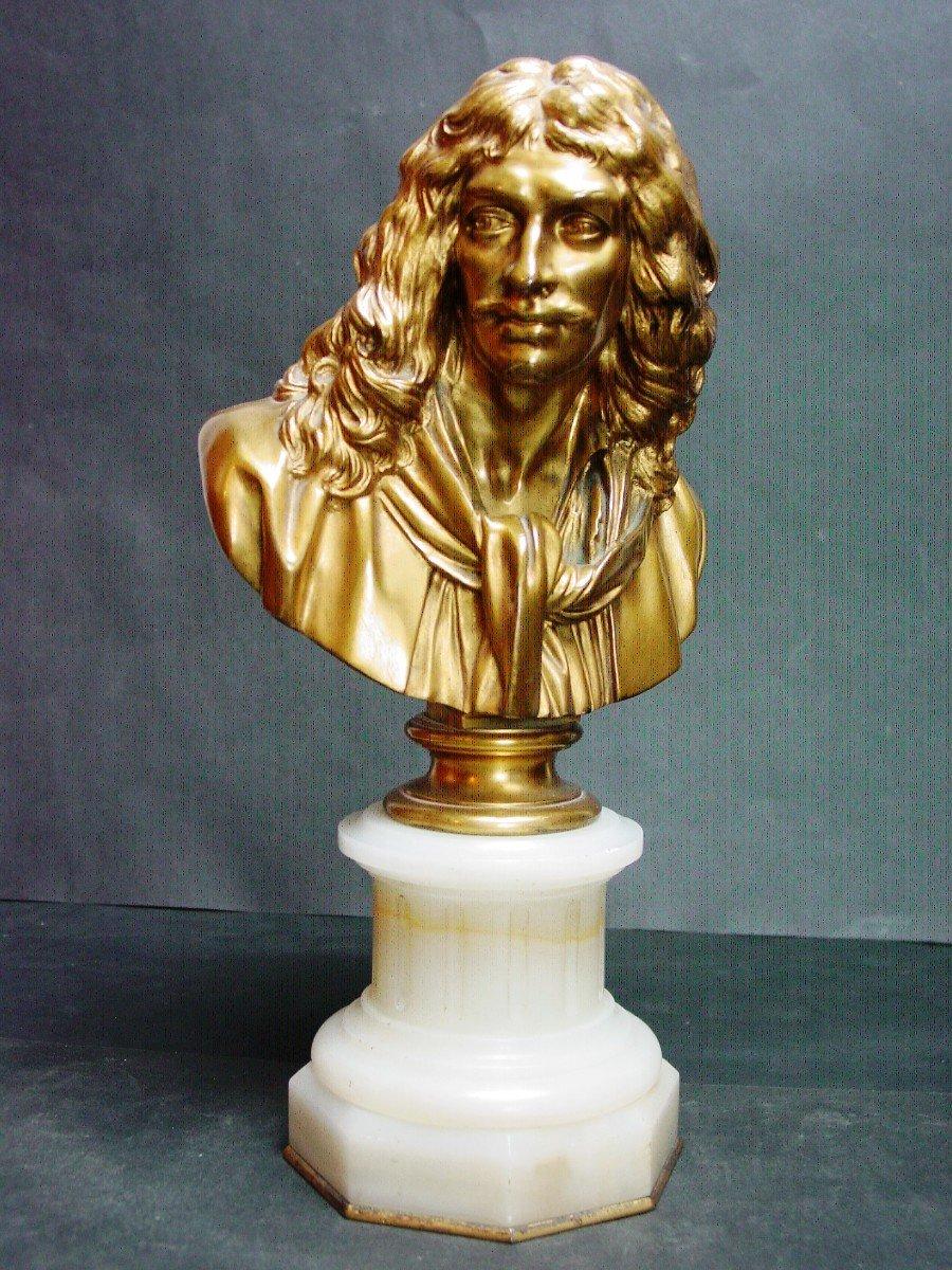 Molière En Buste d'Ap. Houdon Chez Barbedienne  Bronze Doré & Onyx d' Algérie-photo-2