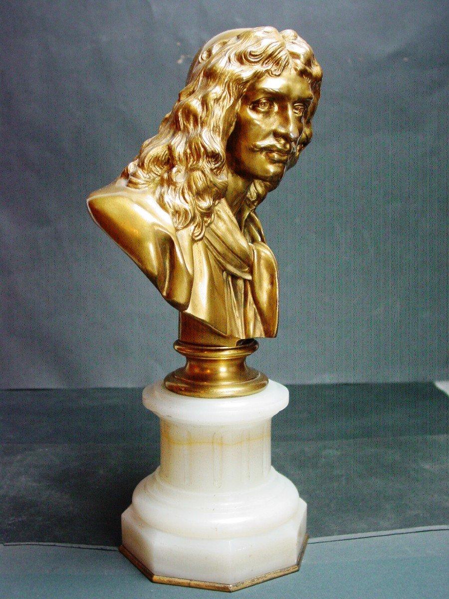 Molière En Buste d'Ap. Houdon Chez Barbedienne  Bronze Doré & Onyx d' Algérie-photo-3