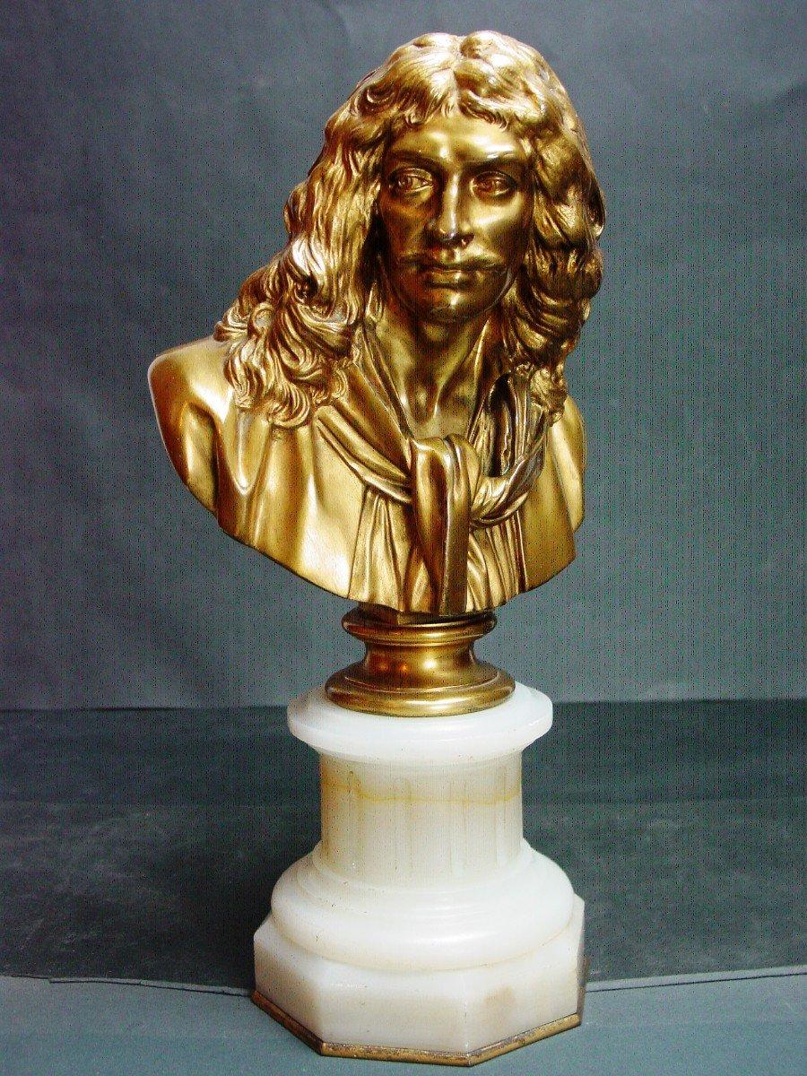Molière En Buste d'Ap. Houdon Chez Barbedienne  Bronze Doré & Onyx d' Algérie-photo-4