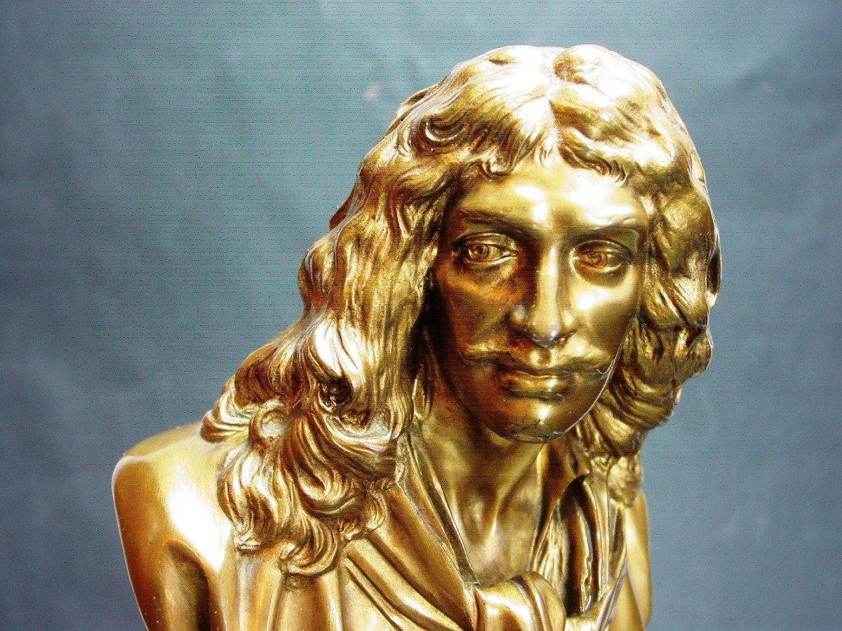 Molière En Buste d'Ap. Houdon Chez Barbedienne  Bronze Doré & Onyx d' Algérie-photo-1