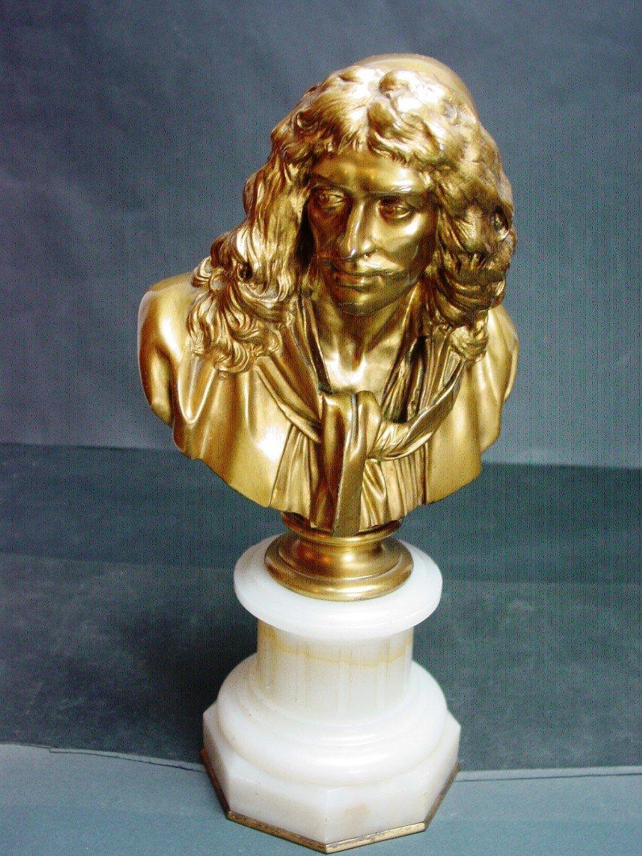 Molière En Buste d'Ap. Houdon Chez Barbedienne  Bronze Doré & Onyx d' Algérie-photo-5
