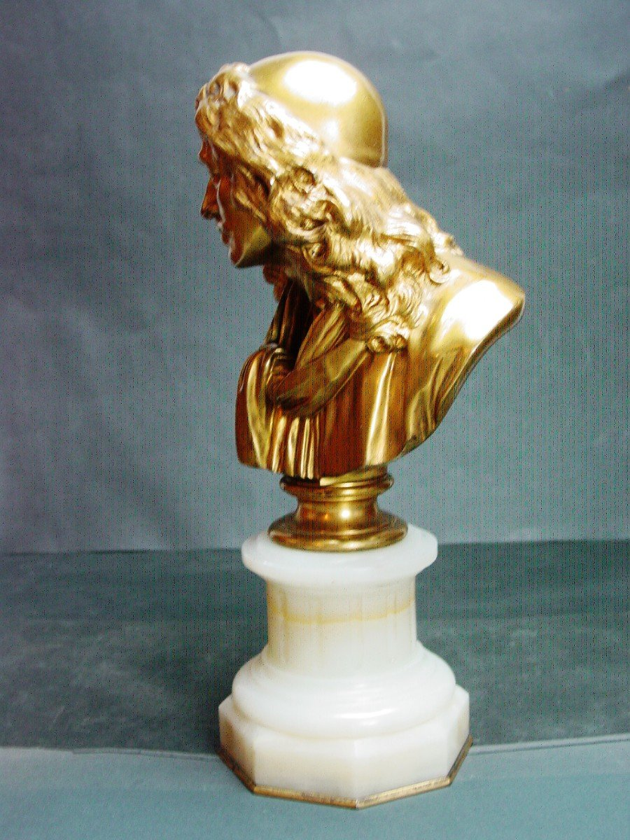 Molière En Buste d'Ap. Houdon Chez Barbedienne  Bronze Doré & Onyx d' Algérie-photo-8