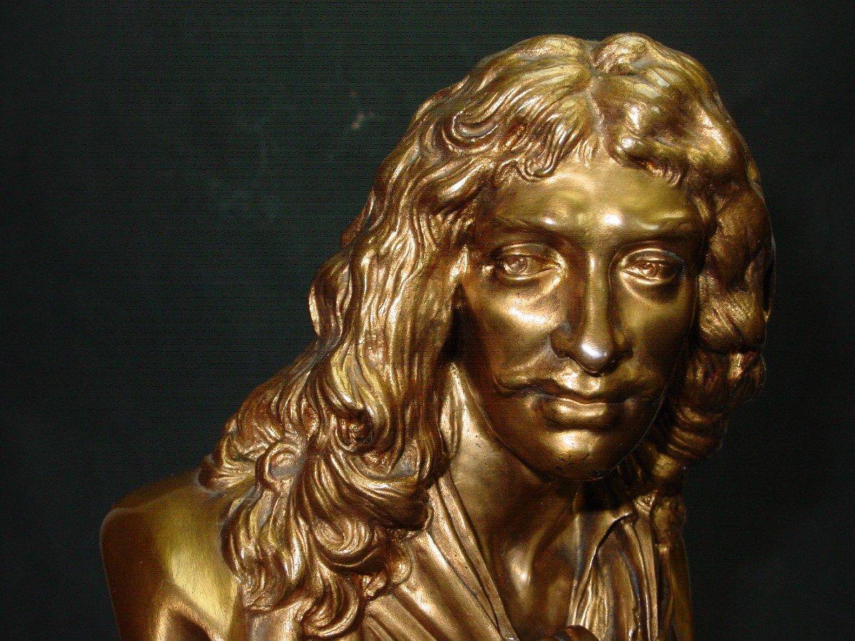 Molière En Buste d'Ap. Houdon Chez Barbedienne  Bronze Doré & Onyx d' Algérie