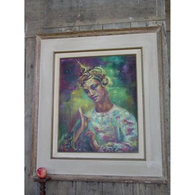 """""""danseuse De Bali """" Vers 1960 Huile/ Toile Sig: M. Rauser"""