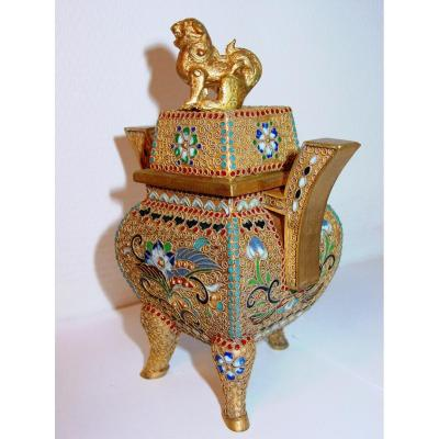 Perfume Burner From China Golden Copper & Cloisonné Enamels 19th