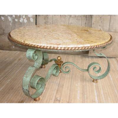 Raymond Subes Belle Patine Antique Table Basse Dia: 90 Cm.Art déco