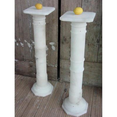 Pair Alabaster Columns Around 1950 Neoclassical