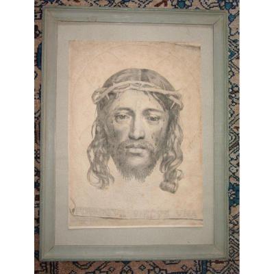 """Christ de Mellan par Dudesert Épreuve de 1735 """"Voile de Véronique"""""""