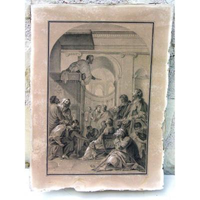 "This beautiful drawing executed in the course of the 18th century represents a station of the life of Saint Bruno after the table of Eustache Le Sueur for the Chartreuse of Vauvert (today Luxembourg garden). Very good design, finely executed, everything is perfect, nothing is left to chance as at ""Le Sueur"" No signature or monogram. The state is to discover on the photos, it was marouflé, at the time on the cardboard of the artisan gilding painter ""Vézinier"" who can be the author, (these people knew how to do everything) This man can to be involved in the installation in the Louvre of paintings by Le Sueur bought by Louis XVI? The marouflage still holds on the upper part, the leaf is slightly insolated."