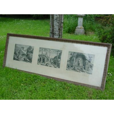Long (210 Cm.) Louis XVI Carved Oak Frame For Panoramic, Triptych Etc ....