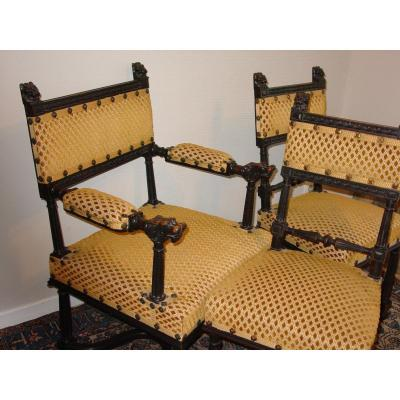 Office Chair S. Renaissance Napoleon III & Its Two Fireside Velvet Genoa