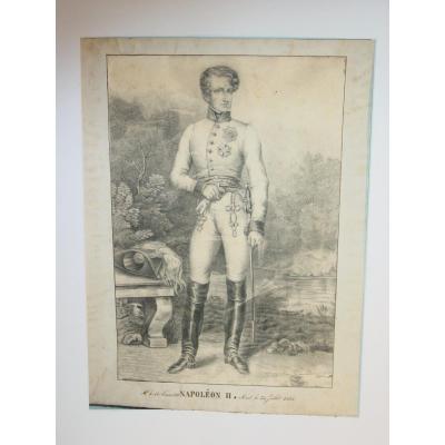 Dessin En Uniforme De Napoléon II  ,duc De Reichstadt , Roi De Rome , Dit l' Aiglon
