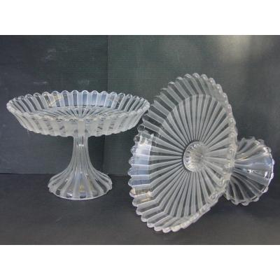 Baccarat Pair Cups Crystal Display Stands