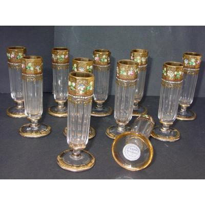 A. Rupp Bohemian Crystal Ens. From 11 Enamel & Golden Liquor Glasses
