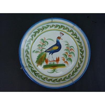 "Plate Decorated With Peacock Early 19th ""wally"""