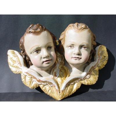 2 Têtes d'Ange Jumeaux En Tilleul Peint & dorés du 19ème siècle Italie baroque Amours Putti
