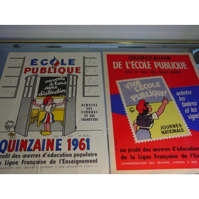 """Jean Effel(1908-1982) Deux affiches : """"école publique  ouverte à tous"""" et vive l'école publique"""