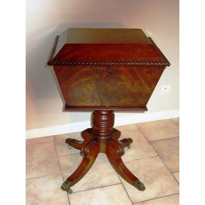 Large Regency Period Mahogany Box For Tea, Wine, Sewing Equipment