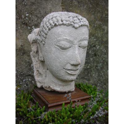 Royaume Du Siam : Tête De Bouddha En Pierre Du 16ème Siècle
