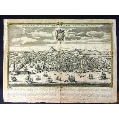 """""""Gênes"""" """"Gennes"""" """"Genova""""   vers 1670-80  Vue Panoramique par Gérard Jollain"""