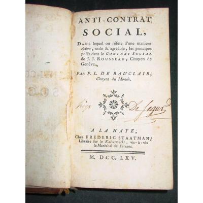 Anti-contrat Social Par P. L. De Bauclair Ou On Réfute Jj Rousseau Et Son Contrat Social