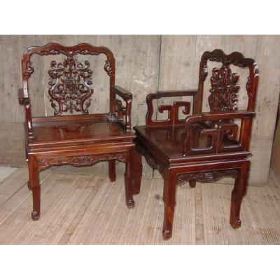 Pair Of Chinese Armchairs, China From The End Of The 19th Century.