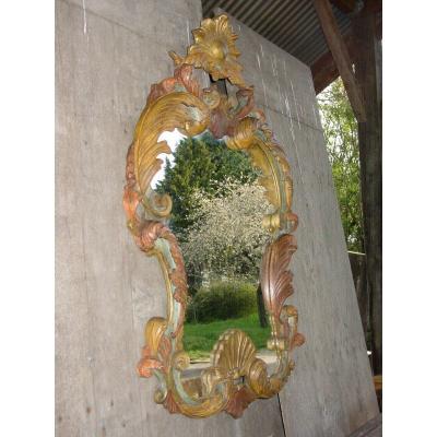 Grand Miroir Baroque En Bois Peint & Doré Italie Du 20 ème Siècle Louis XV