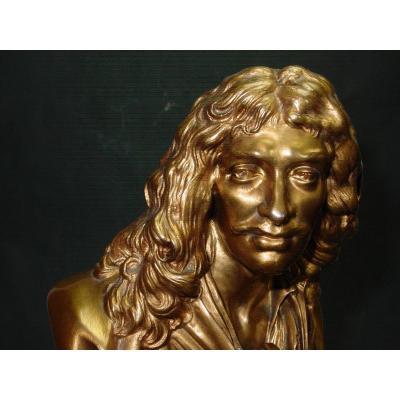 Molière In Bust Of Ap. Houdon Chez Barbedienne Gilt Bronze & Onyx From Algeria