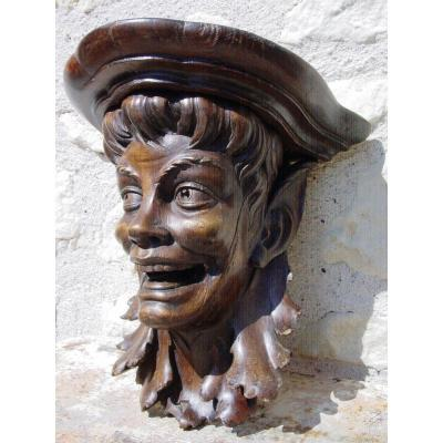 Head Of Laughing Faun In Wall Sconce Console, Carved Beech