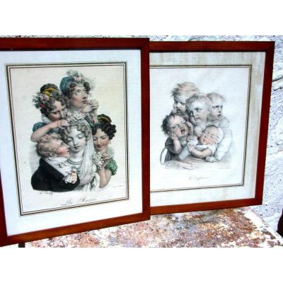 After L. Léopold Boilly 2 Lithographs By Delpech: