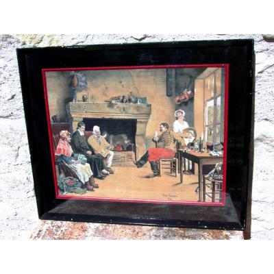 """Gouache Watercolor From The 19th: """"country Memories In Germany?"""" Jules Carbonnel"""