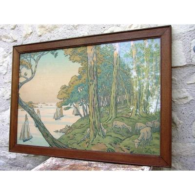 """Large Litho: H. Rivière (1864-1951) Summer Evening, Plate 5 Framed """"aspects Of Nature"""""""