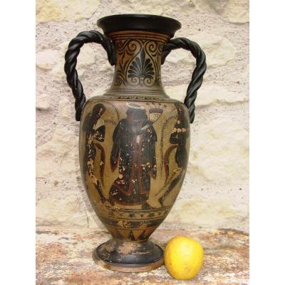 Gd Neo-greek Vase Around 1900 England Or Italy Decorated Glazed Earth