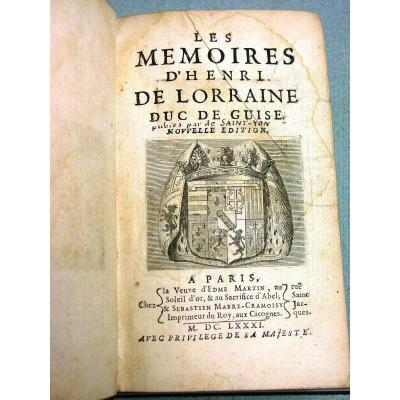 (sic) The Memoirs Of Henri De Lorraine Duc De Guise Published By De Saint-yon 1681