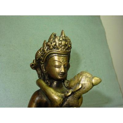 From The 19th: Vajradhara And His Parèdre In Bronze H. 18.5 Cm. Buddha Tantra Shiva Shakti