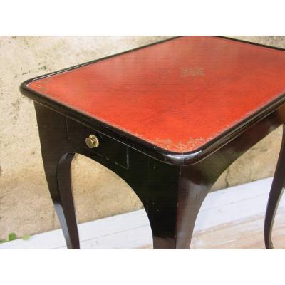 Table De Salon Jansen Ou Consorts Laquée Noire Dessus Cuir Patiné & Doré bureau