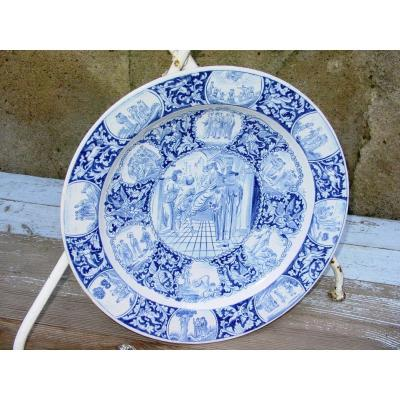 """Large 19th Century Delft Dish Marked """"ivh"""" Scenes From The Life Of Christ"""