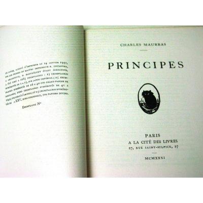 "Edition Originale ""Principes"" Charles Maurras 1931"